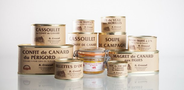 Extrait de la gamme des conserves de la famille Crouzel, artisan conserveur en Dordogne
