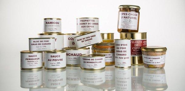 Extrait de la gamme des conserves de Robert et Jean Danos, artisan conserveur en Dordogne