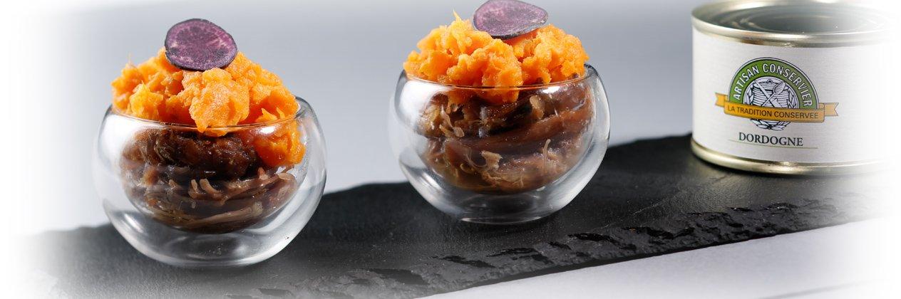 Parmentier de confit de canard et patate douce