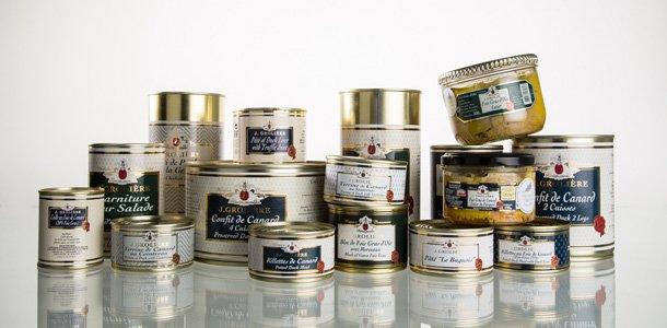 Extrait de la gamme des conserves de Jean-Marc et Sophie Grolière, artisan conserveur en Dordogne