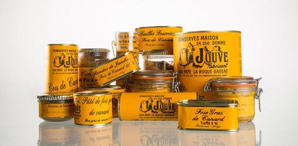 Extrait de la gamme des conserves de la famille Jouve, artisan conserveur en Dordogne