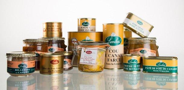 Extrait de la gamme des conserves de la Maison Lembert, artisan conserveur en Dordogne