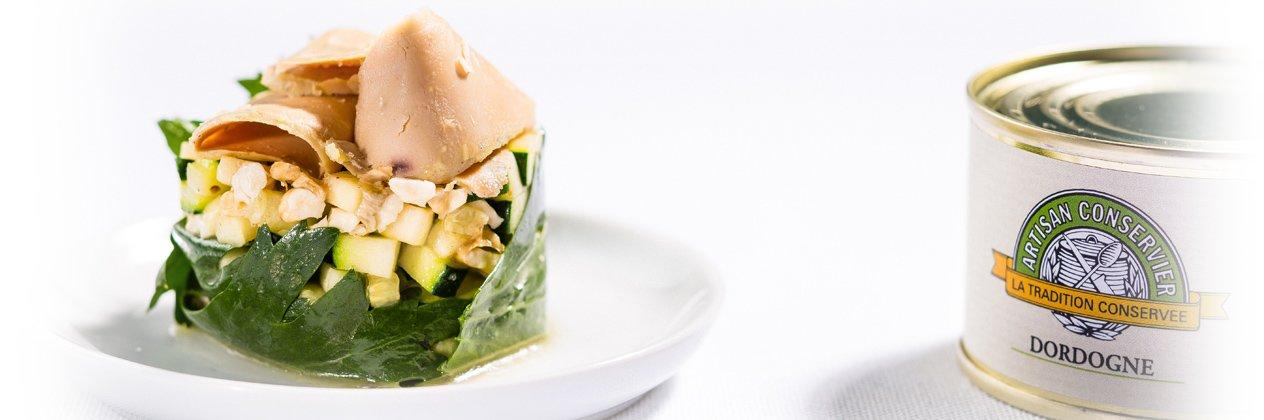 Tartare d'asperges, noix et foie gras