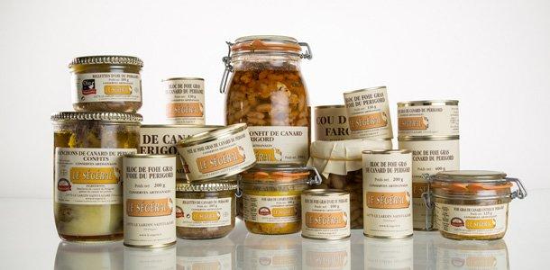 Extrait de la gamme des conserves de Le Ségéral, artisan conserveur en Dordogne
