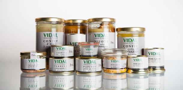 Extrait de la gamme de la famille Vidal, artisan conserveur en Dordogne